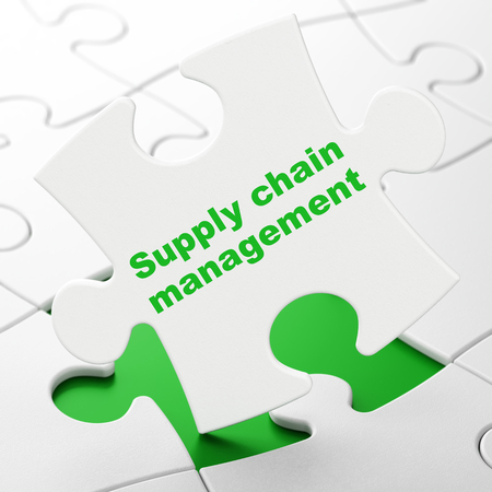 Advertising concept: Supply Chain Management on White puzzle pieces background, 3D rendering