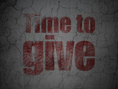 Timeline concept: Red Time To Give on grunge textured concrete wall background