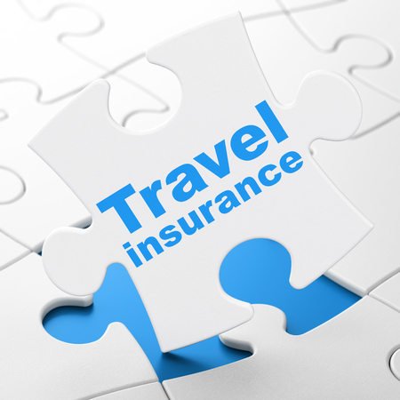 Insurance concept: Travel Insurance on White puzzle pieces background, 3D rendering
