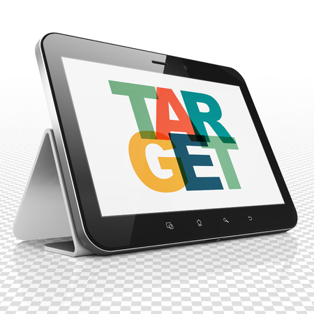 Business concept: Tablet Computer with Painted multicolor text Target on display, 3D rendering