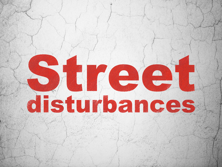 Politics concept: Red Street Disturbances on textured concrete wall background Stock Photo