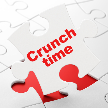Finance concept: Crunch Time on White puzzle pieces background, 3D rendering Stock Photo