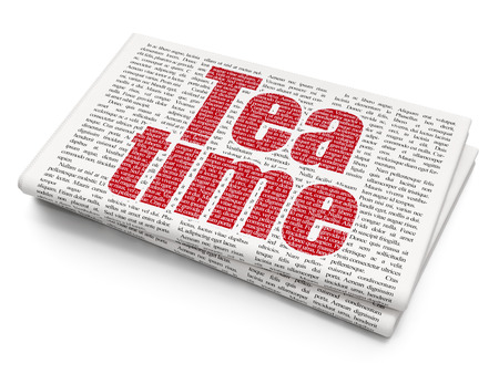 Time concept: Pixelated red text Tea Time on Newspaper background, 3D rendering