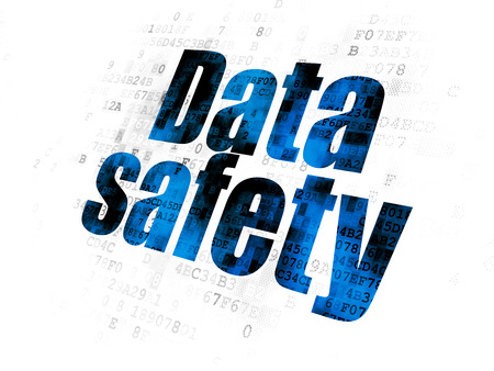 Information concept: Pixelated blue text Data Safety on Digital background