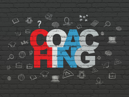 Education concept: Painted multicolor text Coaching on Black Brick wall background with  Hand Drawn Education Icons