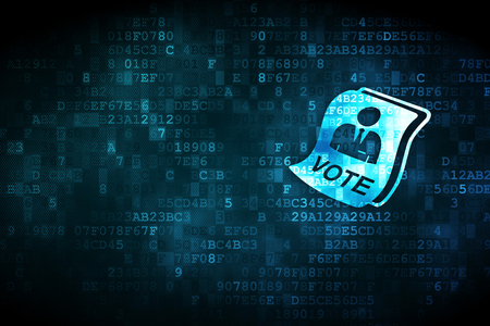 정치 개념 : pixelated 투표 용지 아이콘 디지털 배경, 카드, 텍스트, 광고에 대 한 빈 copyspace