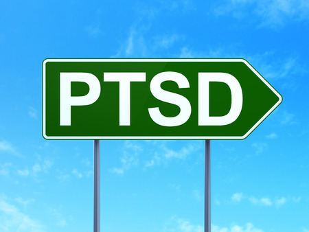 Healthcare concept: PTSD on green road highway sign, clear blue sky background, 3D rendering