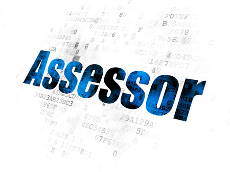 Insurance concept: Pixelated blue text Assessor on Digital background Imagens