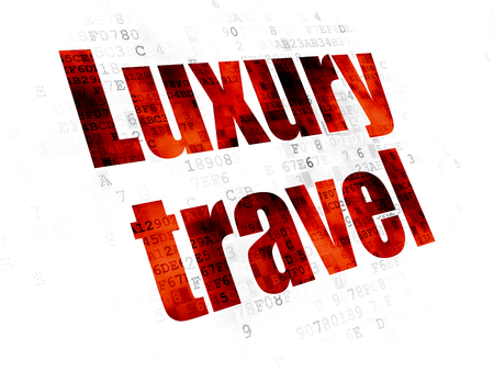 Vacation concept: Pixelated red text Luxury Travel on Digital background Фото со стока