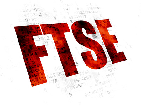 Stock market indexes concept: Pixelated red text FTSE on Digital background