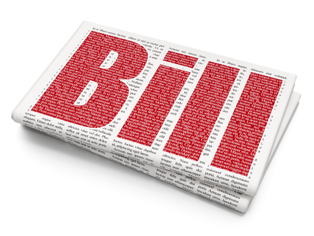 Money concept: Pixelated red text Bill on Newspaper background, 3D rendering