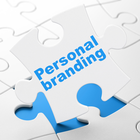 Advertising concept: Personal Branding on White puzzle pieces background, 3D rendering Stock Photo