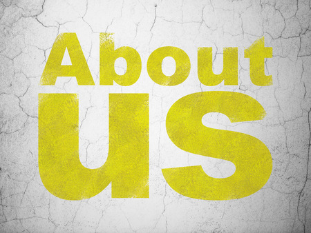 Marketing concept: Yellow About Us on textured concrete wall background