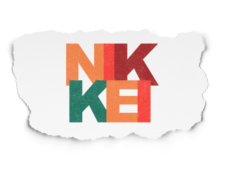 Stock market indexes concept: Painted multicolor text Nikkei on Torn Paper background