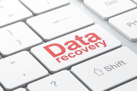 Concept d'information: clavier d'ordinateur avec Word Data Recovery, focus sélectionné sur entrer dans l'arrière-plan du bouton, rendu 3D