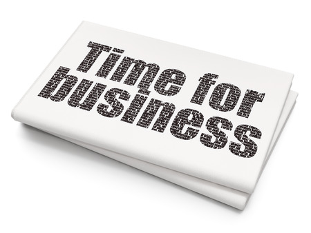 Time concept: Pixelated black text Time for Business on Blank Newspaper background, 3D rendering