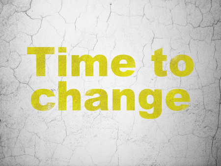 Timeline concept: Yellow Time to Change on textured concrete wall background