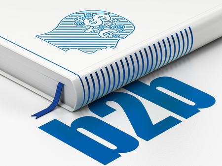 Finance concept: closed book with Blue Head With Finance Symbol icon and text B2b on floor, white background, 3D rendering