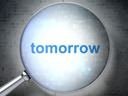 Time concept: magnifying optical glass with words Tomorrow on digital background, 3D rendering