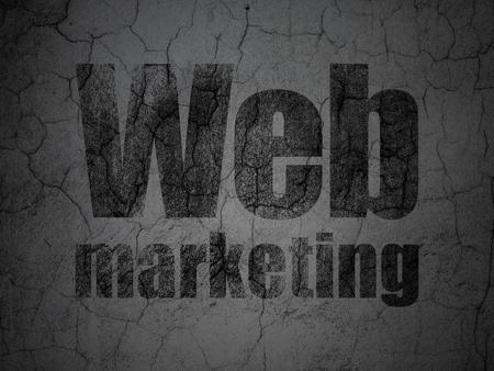 Web design concept: Black Web Marketing on grunge textured concrete wall background