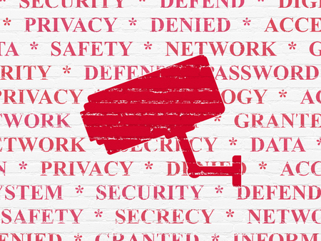 Privacy concept: Painted red Cctv Camera icon on White Brick wall background with  Tag Cloud