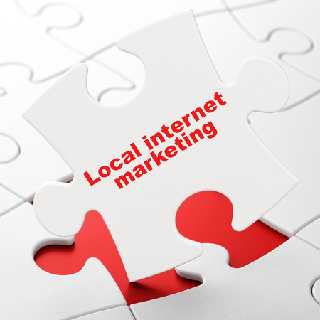 Advertising concept: Local Internet Marketing on White puzzle pieces background, 3D rendering