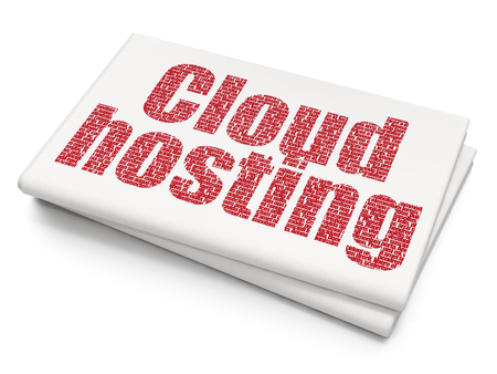 Cloud technology concept: Pixelated red text Cloud Hosting on Blank Newspaper background, 3D rendering Stock Photo