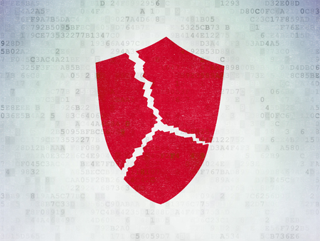 Protection concept: Painted red Broken Shield icon on Digital Data Paper background Stock Photo