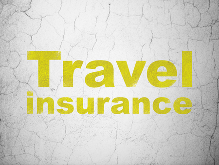 Insurance concept: Yellow Travel Insurance on textured concrete wall background