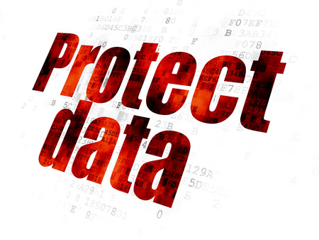 Privacy concept: Pixelated red text Protect Data on Digital background Stock Photo