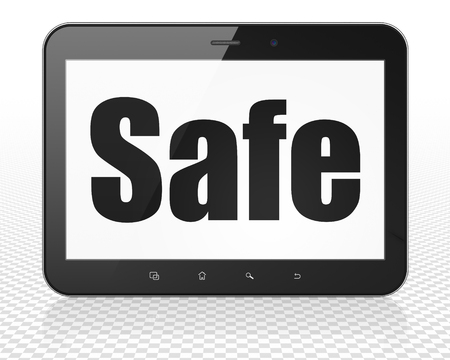 Safety concept: Tablet Pc Computer with black text Safe on display, 3D rendering