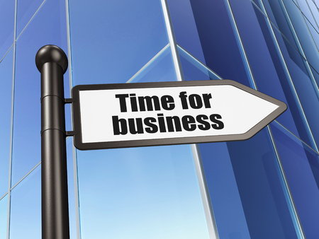 Business concept: sign Time for Business on Building background, 3D rendering Imagens