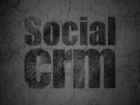 Marketing concept: Black Social CRM on grunge textured concrete wall background
