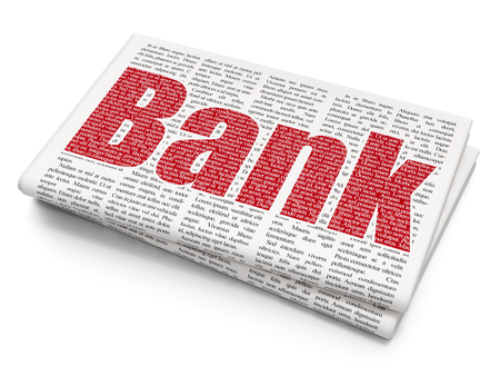 Banking concept: Pixelated red text Bank on Newspaper background, 3D rendering Stock Photo