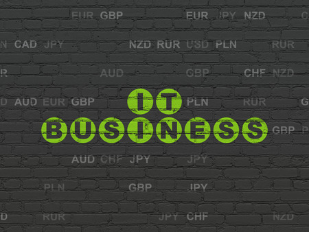 Finance concept: Painted green text IT Business on Black Brick wall background with Currency