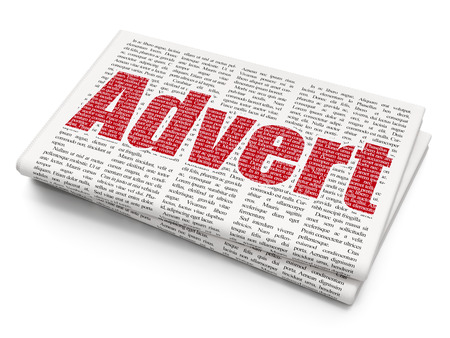 Advertising concept: Pixelated red text Advert on Newspaper background, 3D rendering