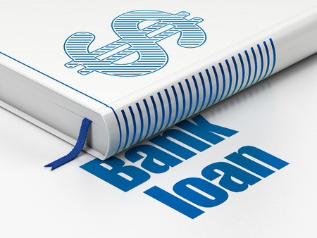 Money concept: closed book with Blue Dollar icon and text Bank Loan on floor, white background, 3D rendering