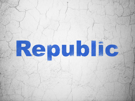 Political concept: Blue Republic on textured concrete wall background Stock Photo