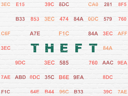 Security concept: Painted green text Theft on White Brick wall background with Hexadecimal Code