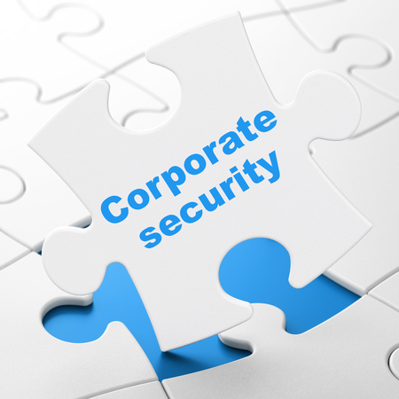 Safety concept: Corporate Security on White puzzle pieces background, 3D rendering