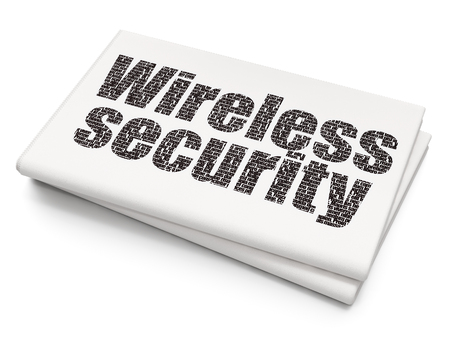 Protection concept: Pixelated black text Wireless Security on Blank Newspaper background, 3D rendering Stock Photo
