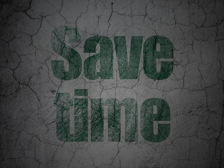 Time concept: Green Save Time on grunge textured concrete wall background Stock Photo - 97304030