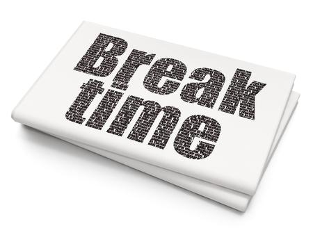 Timeline concept: Pixelated black text Break Time on Blank Newspaper background, 3D rendering Banque d'images