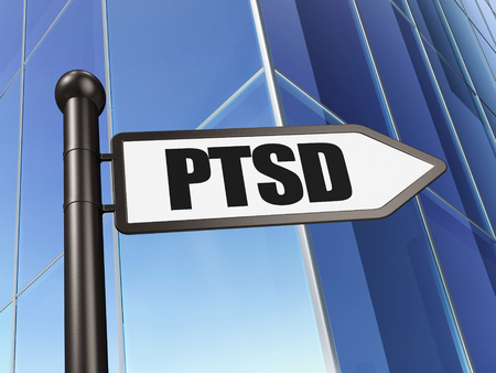 Healthcare concept: sign PTSD on Building background, 3D rendering