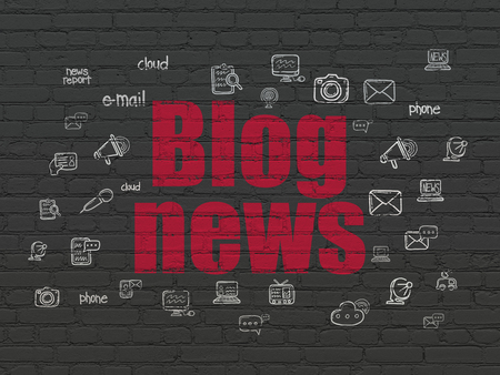 News concept: Painted red text Blog News on Black Brick wall background with  Hand Drawn News Icons Archivio Fotografico
