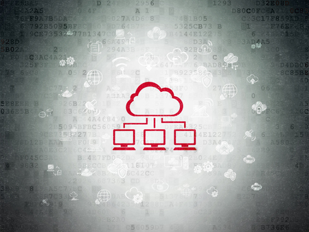 Cloud networking concept: Painted red Cloud Network icon on Digital Data Paper background with  Hand Drawn Cloud Technology Icons Stock Photo