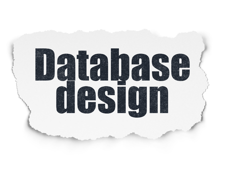 Database concept: Painted black text Database Design on Torn Paper background with Scheme Of Hexadecimal Code