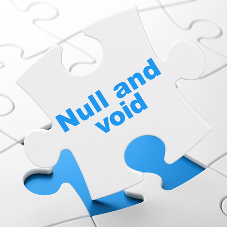 Law concept: Null And Void on White puzzle pieces background, 3D rendering