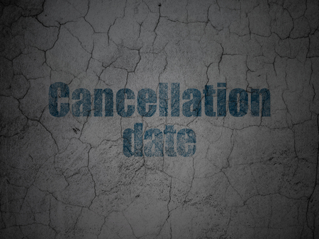 Time concept: Blue Cancellation Date on grunge textured concrete wall background