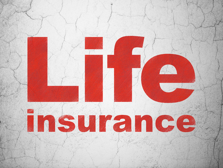 Insurance concept: Red Life Insurance on textured concrete wall background Stock Photo